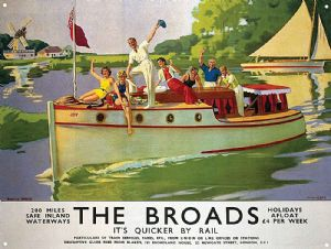 Norfolk Broads Old Rail Ad large steel sign 400mm x 300mm  (og)
